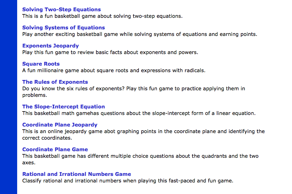 Math Play free 8th grade math games