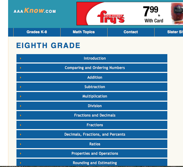 AAAKnow free 8th grade math lessons