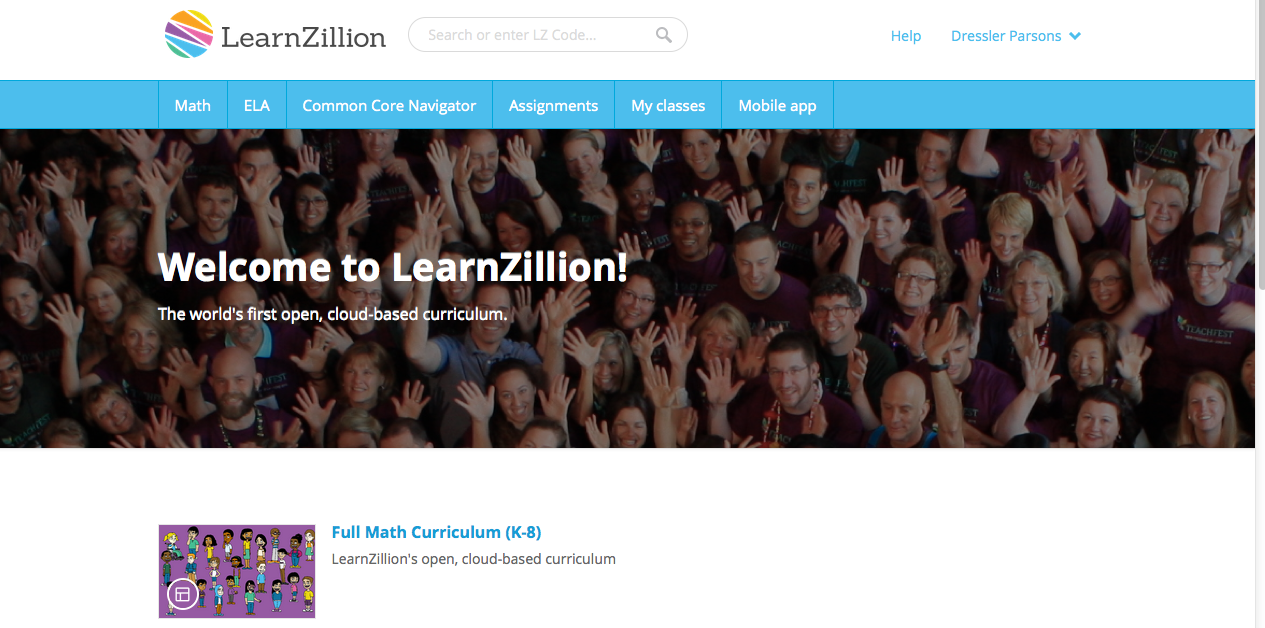 LearnZillion free 8th grade math lessons