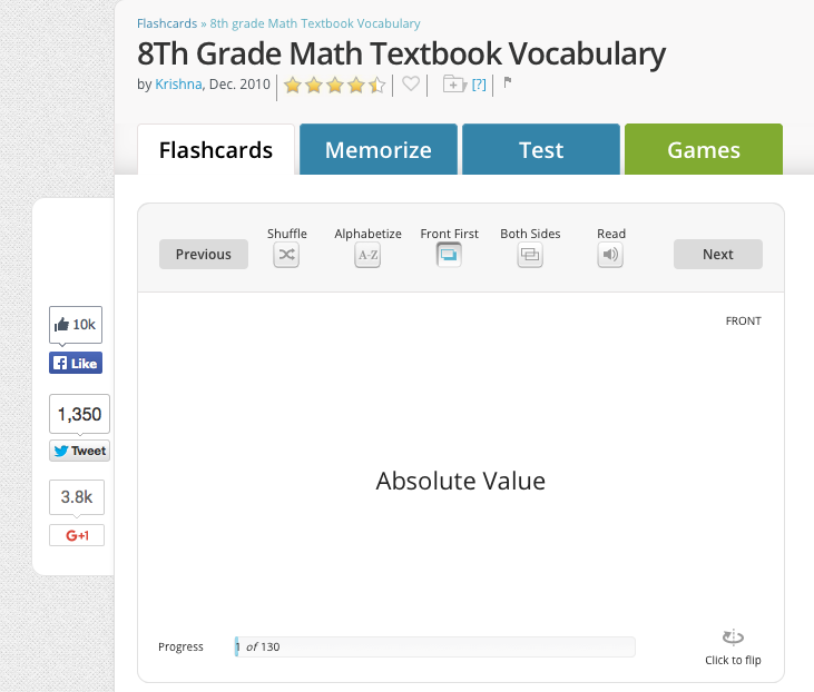 8th grade math flashcards vocabulary