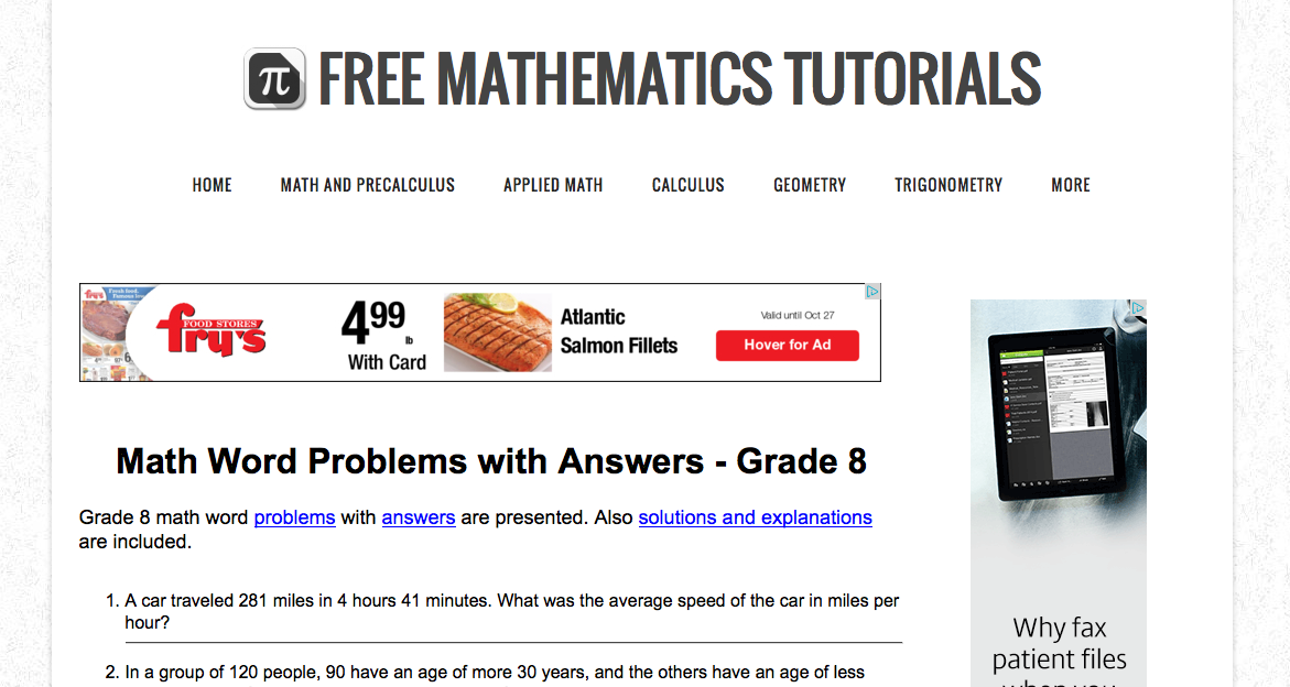 Analyze Math free 8th grade math example problems