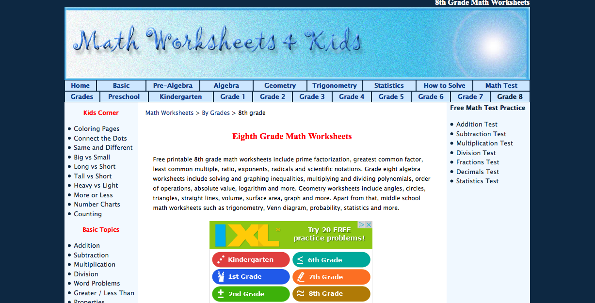 Math Worksheets 4 Kids free 8th grade math worksheets