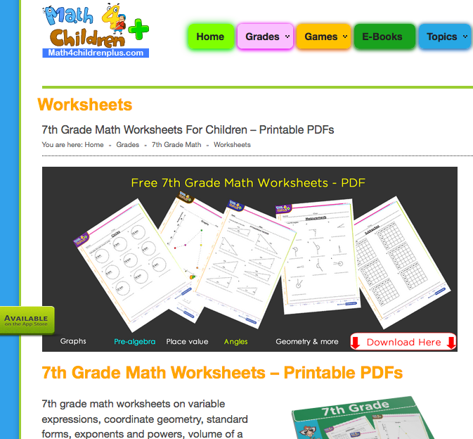 7th grade printable math worksheets from Math4Children Plus
