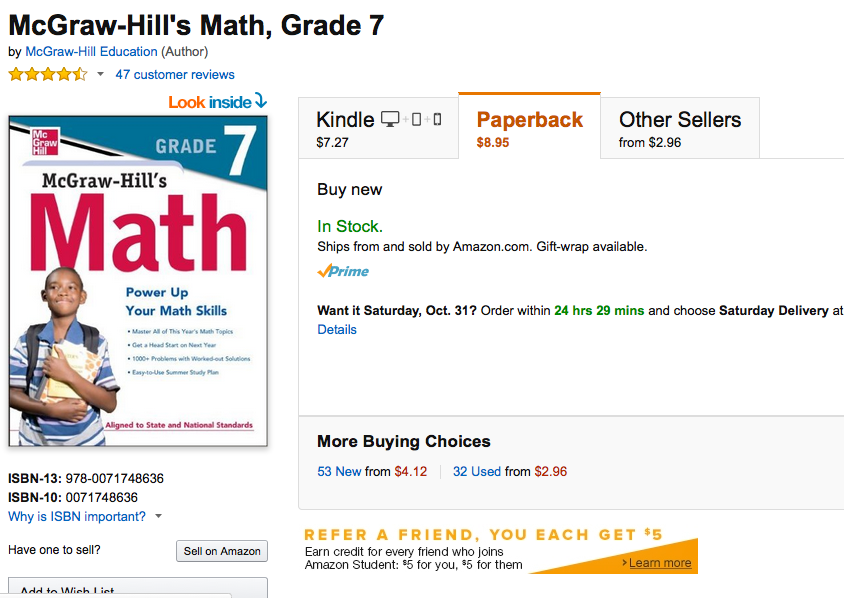 McGraw Hill 7th grade math workbook