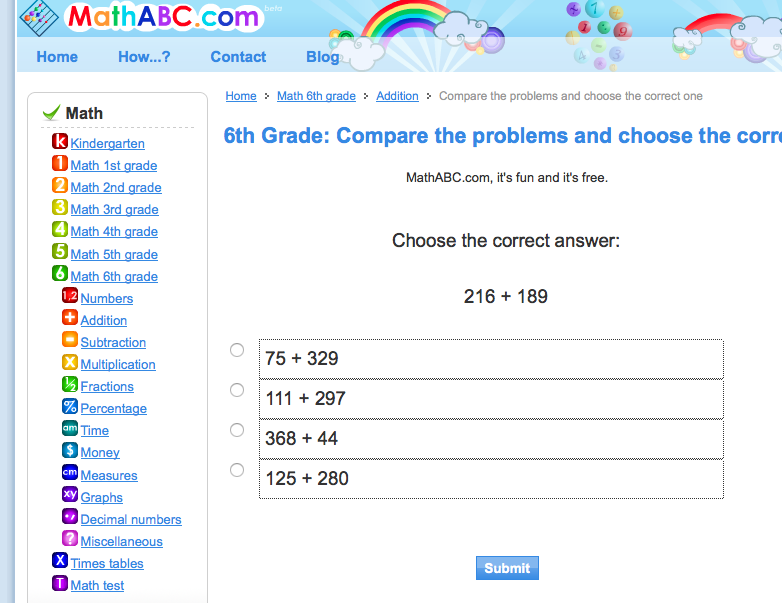 6th grade free online practice test