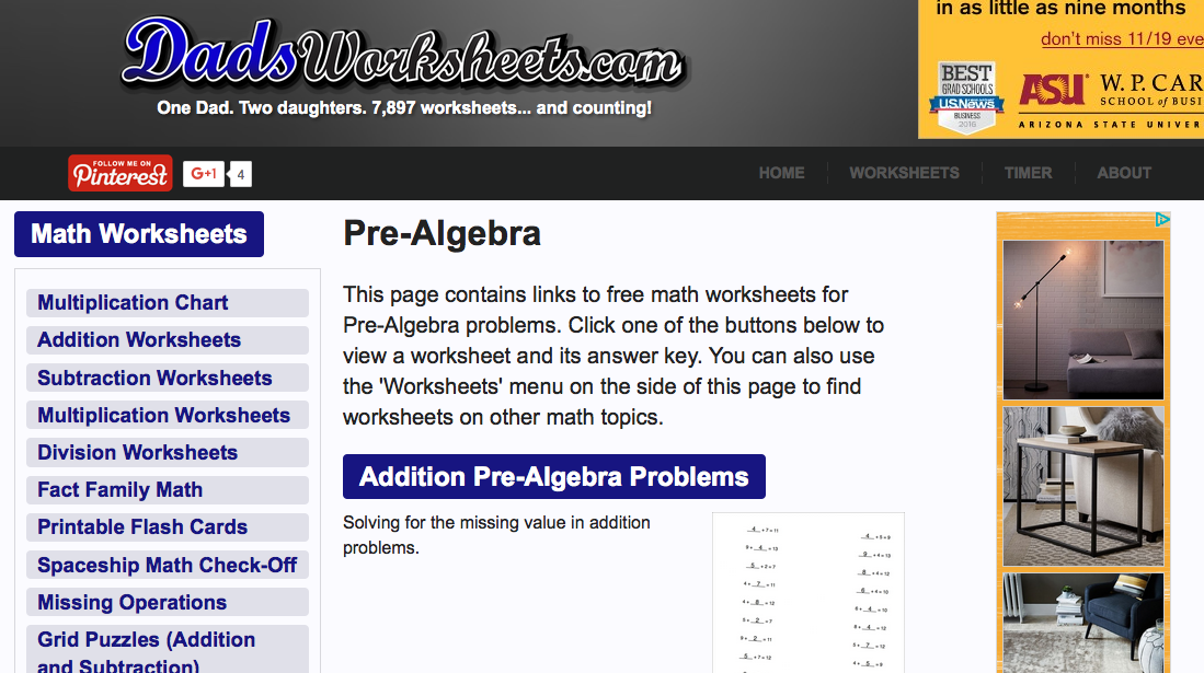 dads worksheets.com pre-algebra worksheet