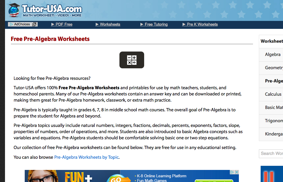 tutor usa.com pre-algebra worksheets