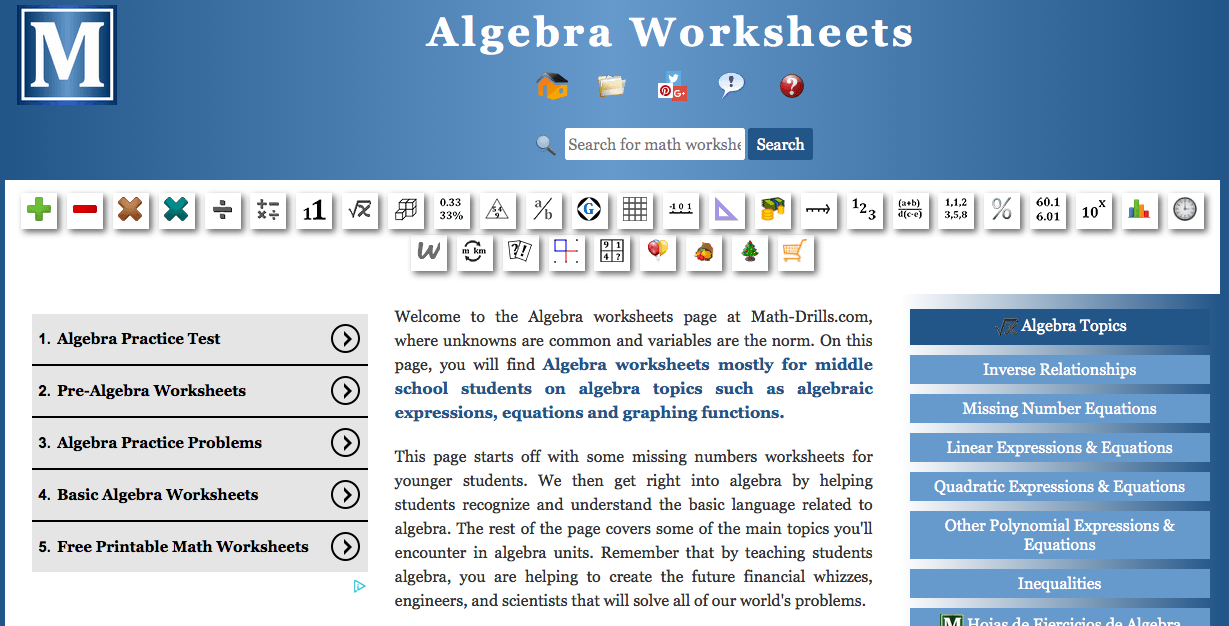 Algebra worksheets pre-algebra worksheets