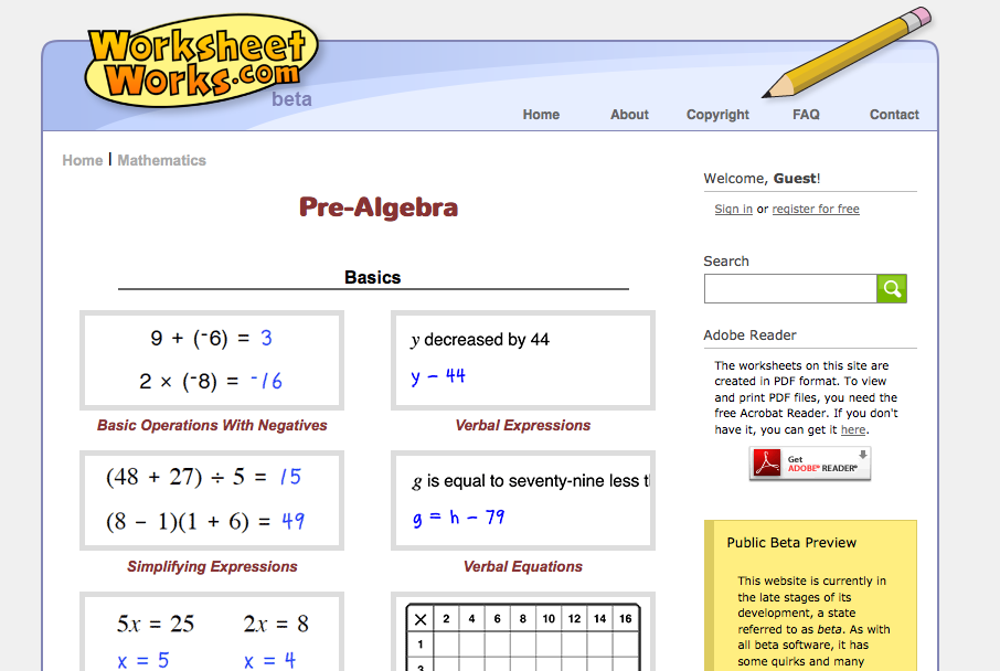 Pre algebra worksheet with answer key