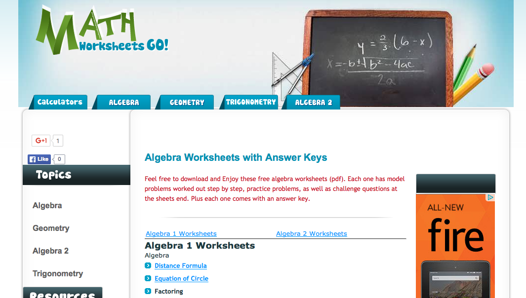 Top 6 Algebra I Worksheets StudentTutor Blog – Math Worksheet Algebra