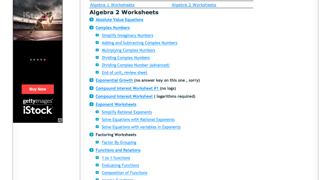 Top 6 Places for Algebra II Worksheets and Algebra II Homework – Algebra 2 Worksheets Answers