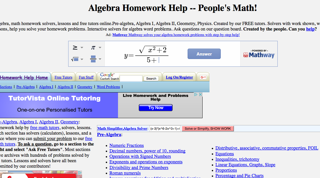 Top 6 Places for Algebra II Worksheets and Algebra II Homework Help ...