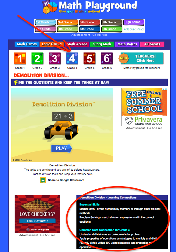 Math Playground Example with Common Core