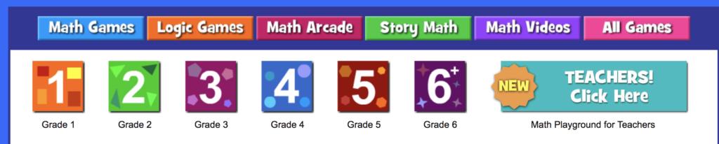 Math Playground by grade level