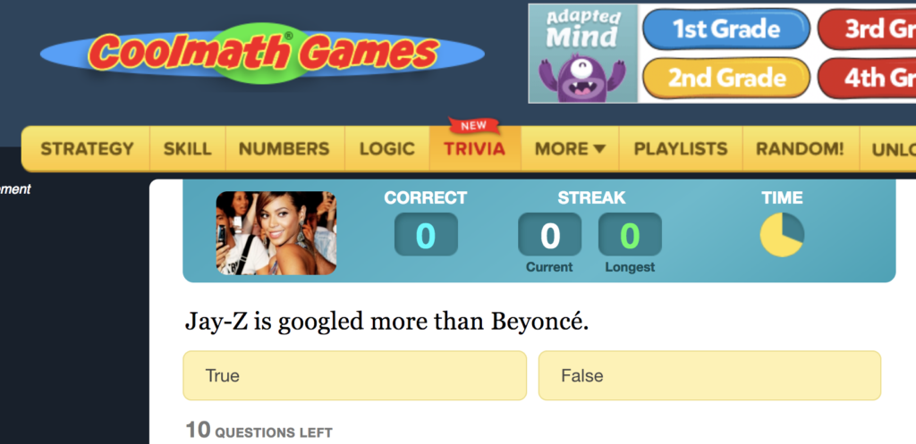 """Cool Math Games Trivia Section """"Who is googled the most"""""""