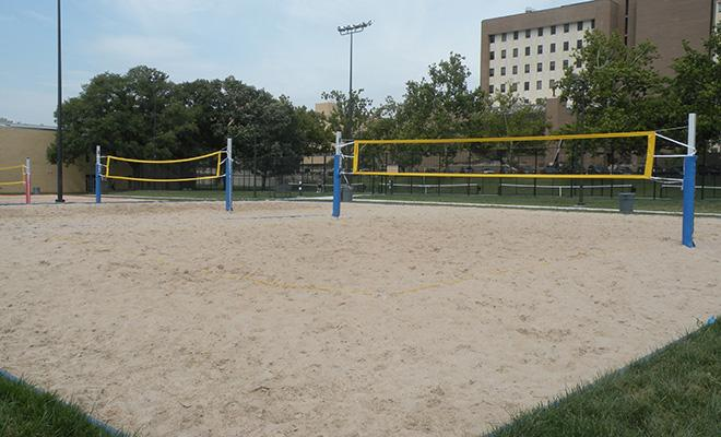 Make friends at on campus facilities like the sand volleyball courts