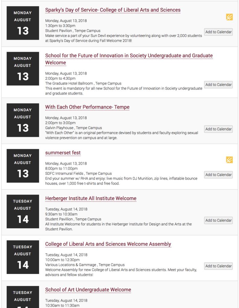 University sanctioned events offered by Arizona State University.