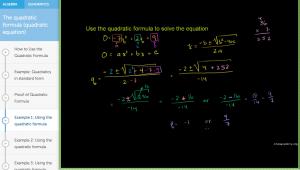 Example of the Quadratic Formula - free online math tutoring tool.