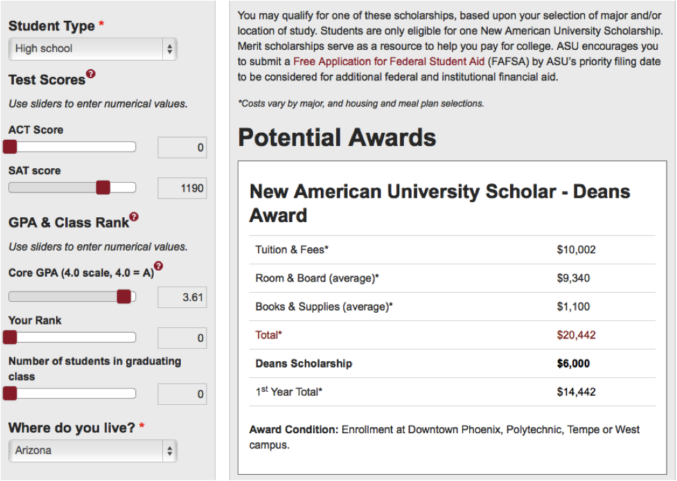 ASU scholarship example for merit-based scholarships