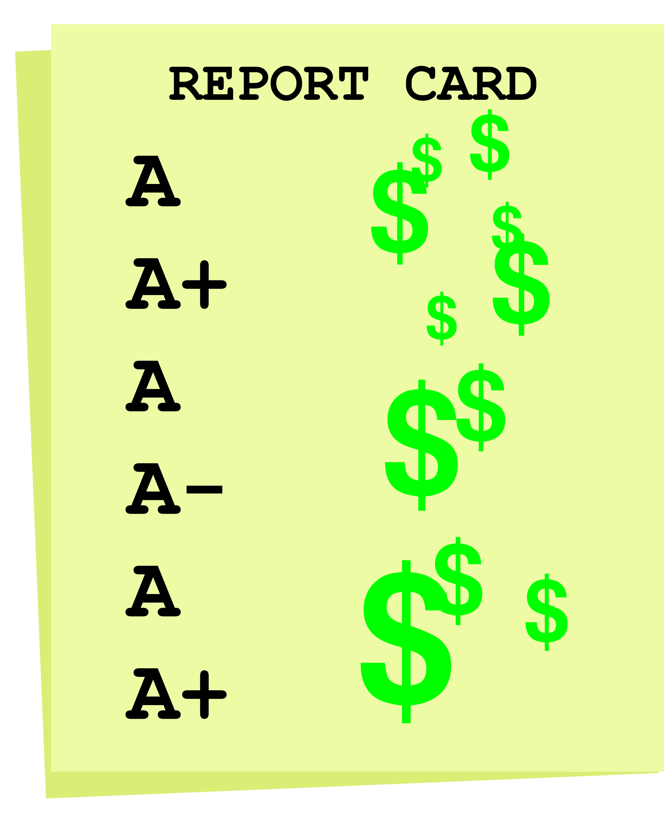 merit scholarship report card example