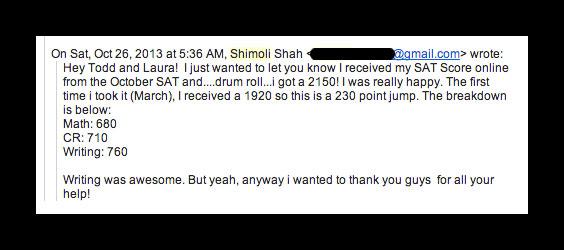 sat class testimonial from shimoli