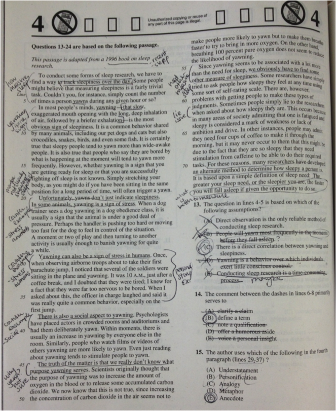 SAT Critical Reading Strategies Marked Up Passage