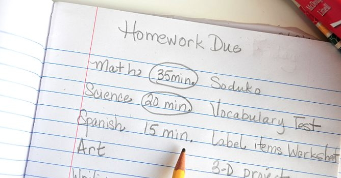 Homework schedule transitioning from elementary school to middle school