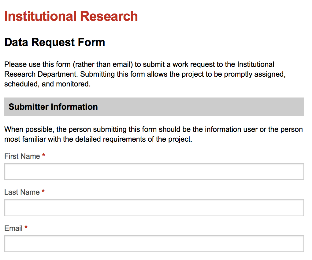 Institutional Research Form