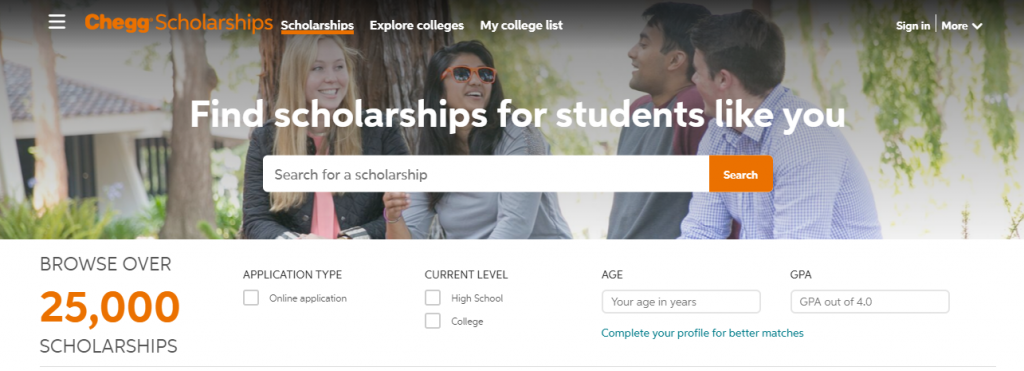 college website for high school students