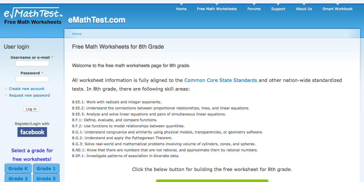 math worksheet : 8th grade math worksheets problems games and tests : Grade 11 Math Worksheets