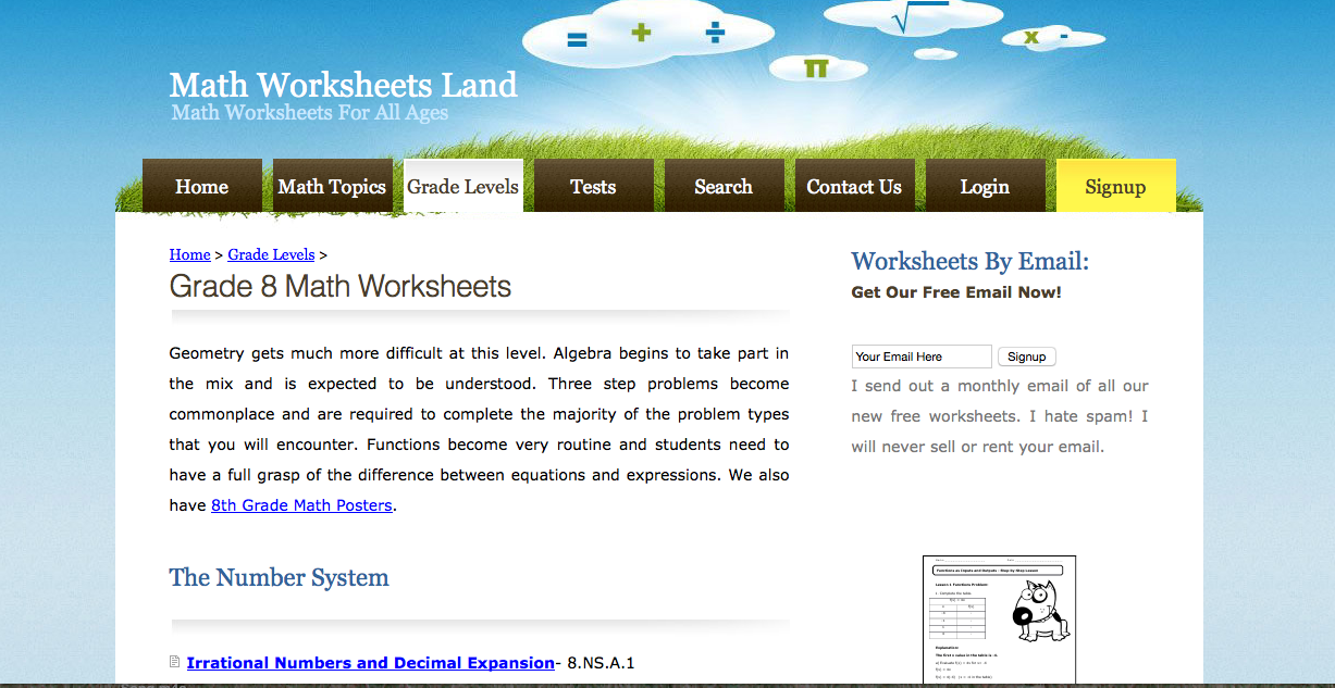 Worksheet Math Worksheets Land 8th grade math worksheets problems games and tests land free worksheets
