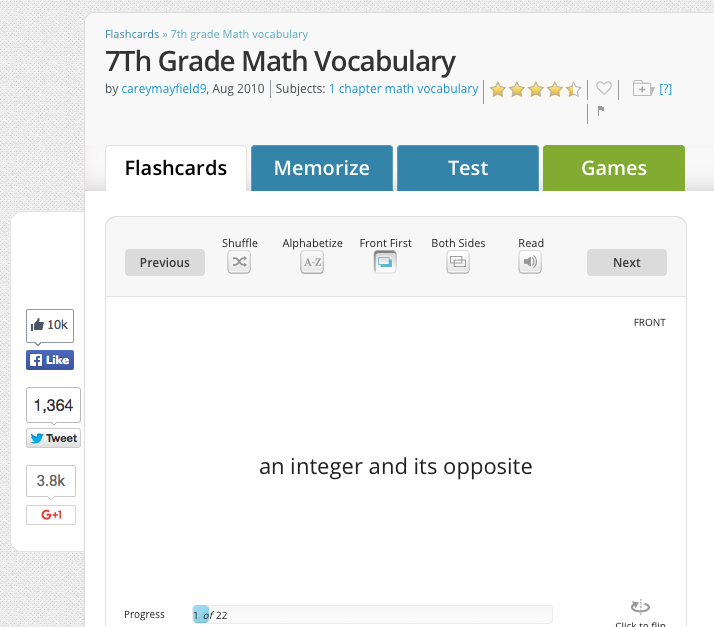 7th grade math vocabulary flashcards