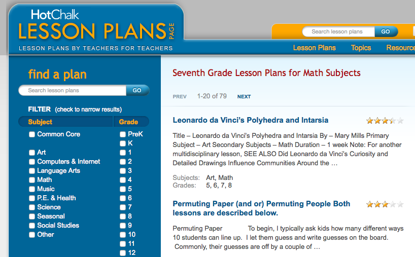 7th grade math lesson plans