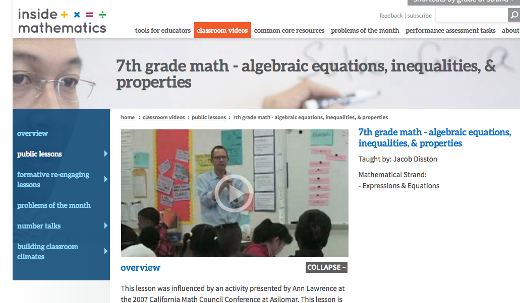 7th grade math classroom video lesson
