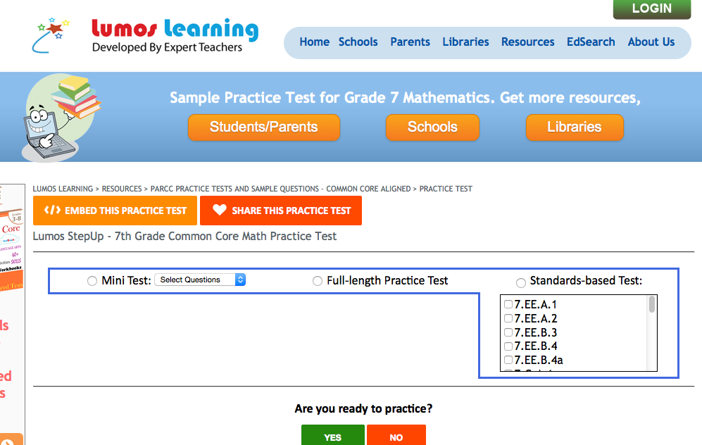 lumos learning free online 7th grade math practice test customizable