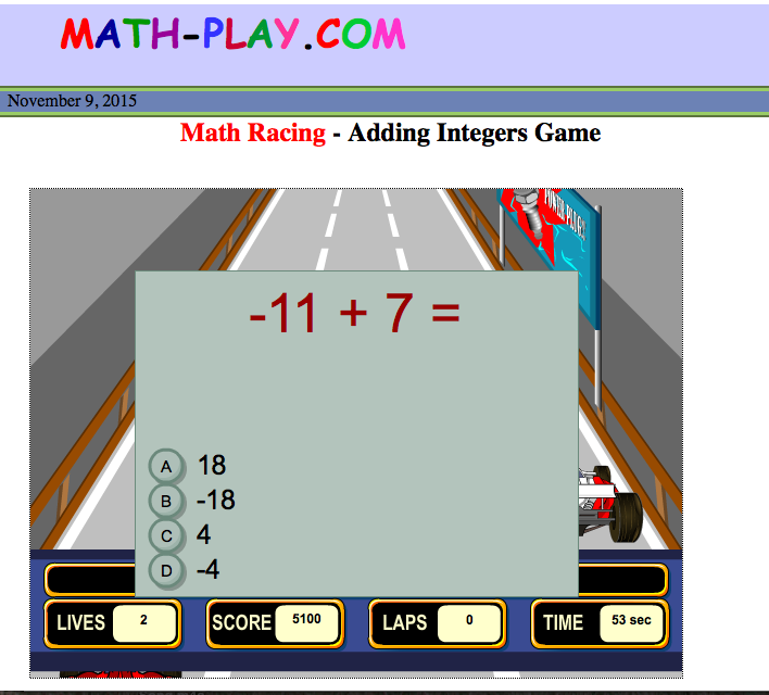 math-play.com 7th grade math racing games