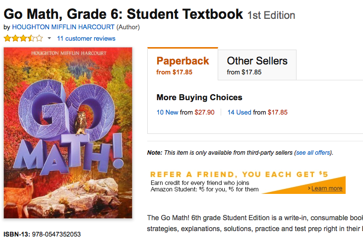 6th grade math textbook common core standards