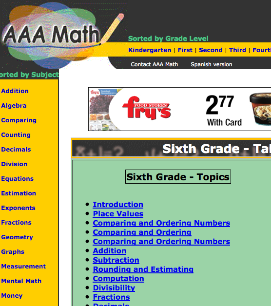 AAAmath 6th grade lesson plans