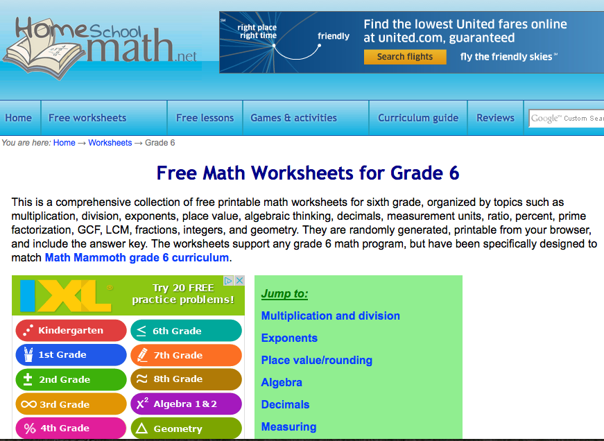 6th grade math printable worksheets