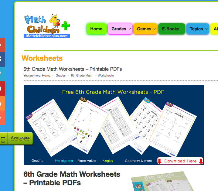 6th grade math worksheets, games, problems, and more!