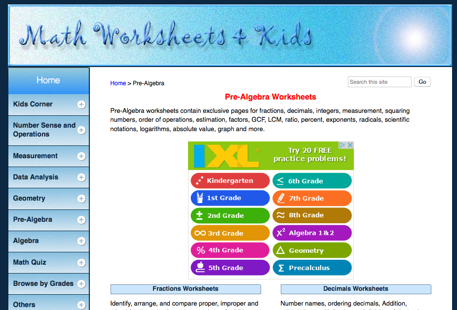 math worksheets + kids pre-algebra worksheets