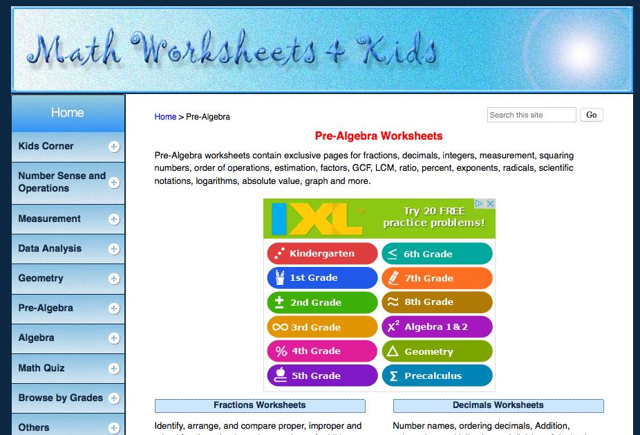 Top 10 PreAlgebra Worksheets StudentTutor Blog – Pre Algebra Math Worksheets