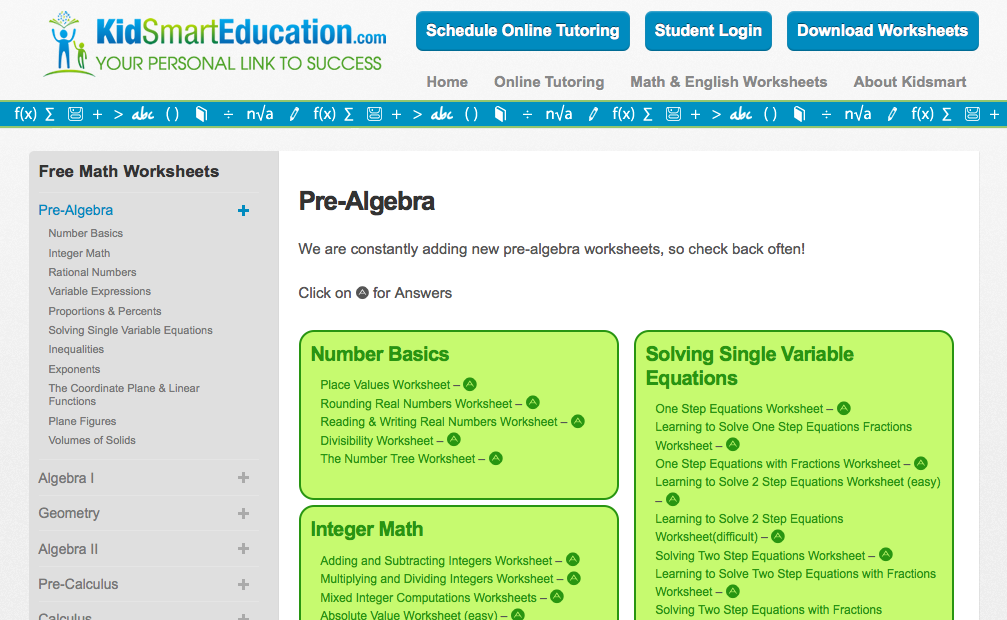 kid smart education.com pre-algebra worksheet