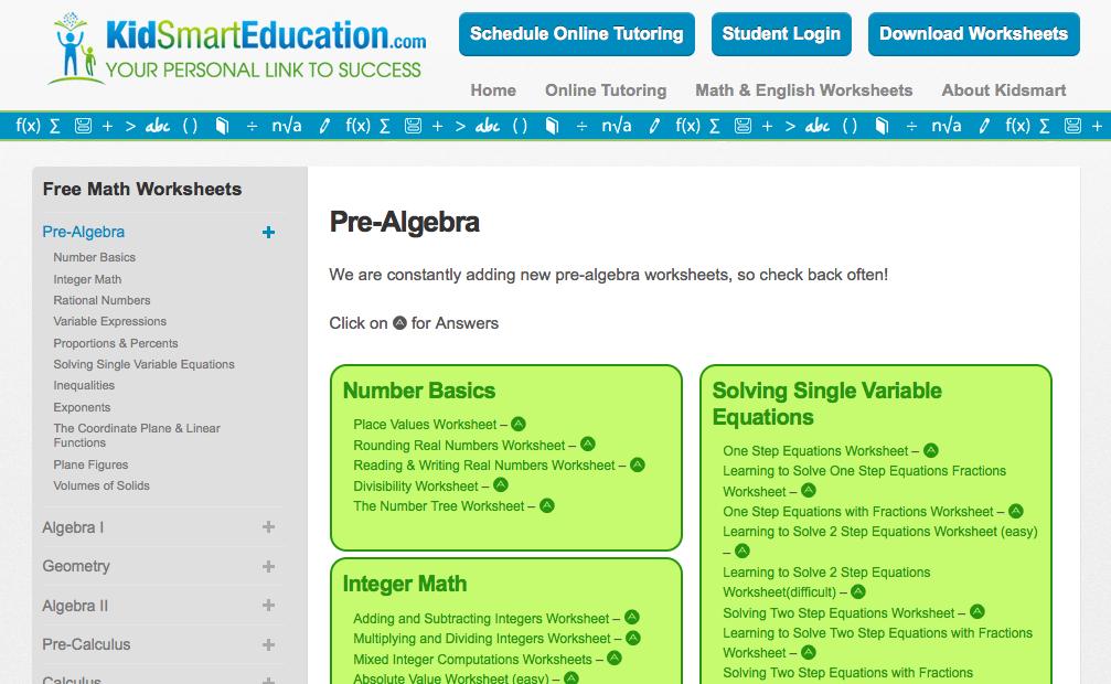 math worksheet : top 10 pre algebra worksheets!  student tutor blog : Pre Algebra Fractions Worksheets