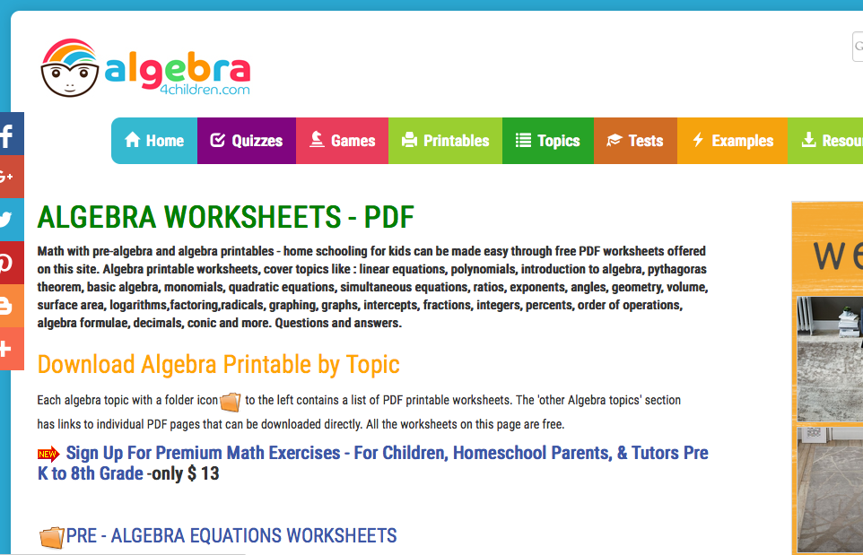 Algebra 4 childreen.com pre-algebra worksheets