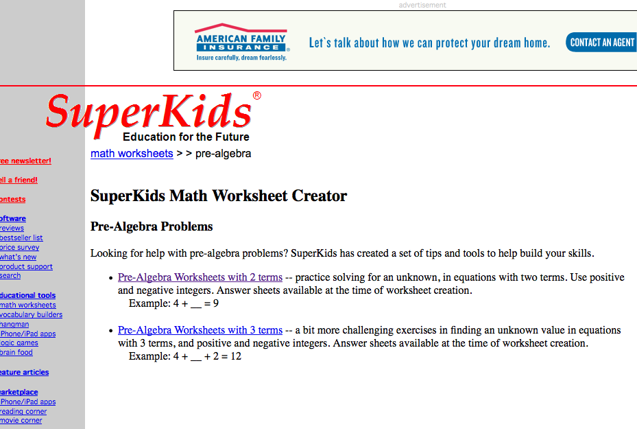 Top 10 PreAlgebra Worksheets StudentTutor Blog – Superkids Math Worksheet Creator