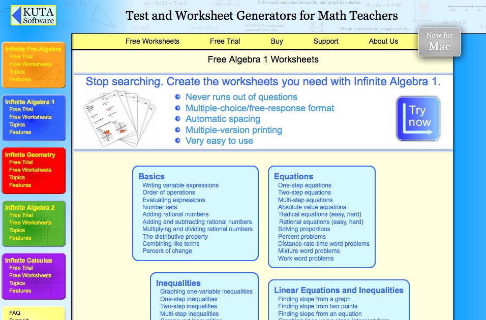 Top 6 Algebra I Worksheets StudentTutor Blog – Kuta Free Worksheets