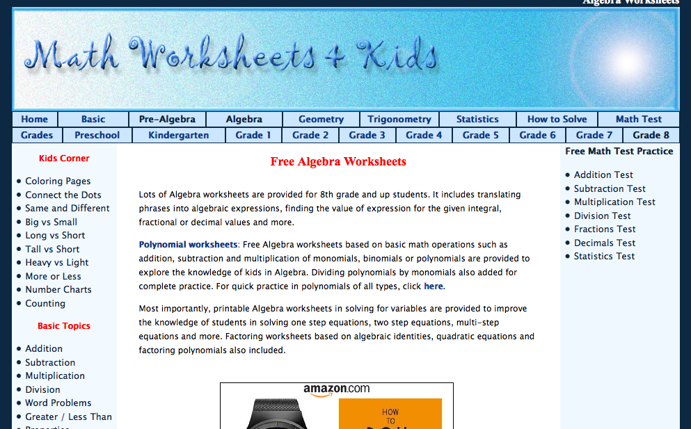 math worksheets & kids algebra I worksheets
