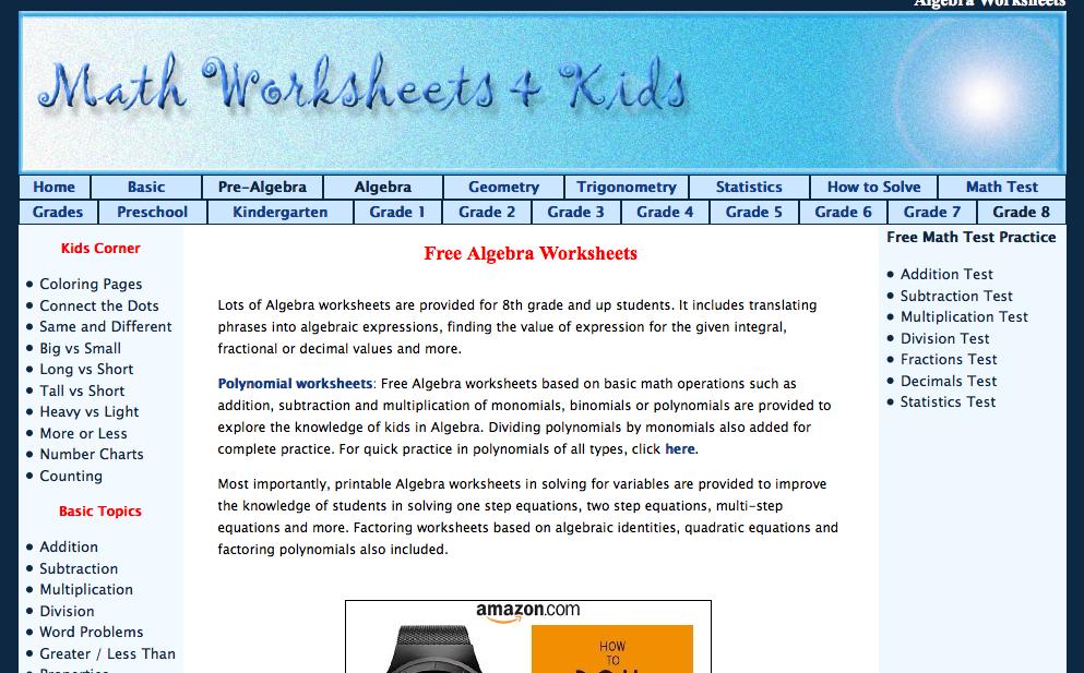 math worksheets & kids algebra I worksheets
