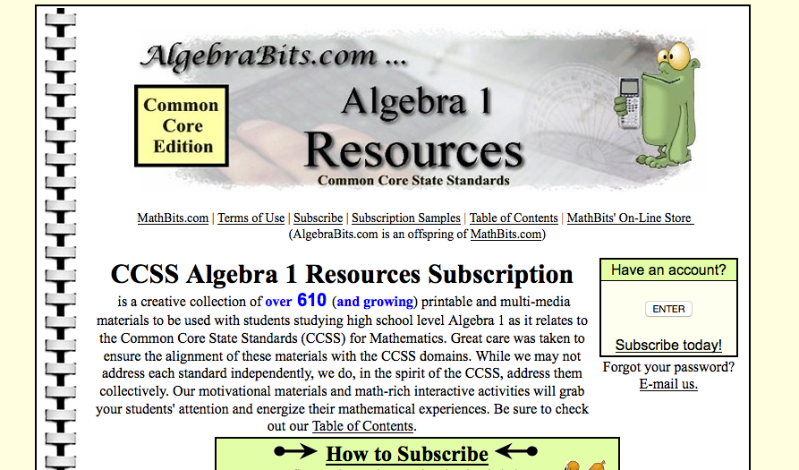 Algebrabits.com algebra I worksheets
